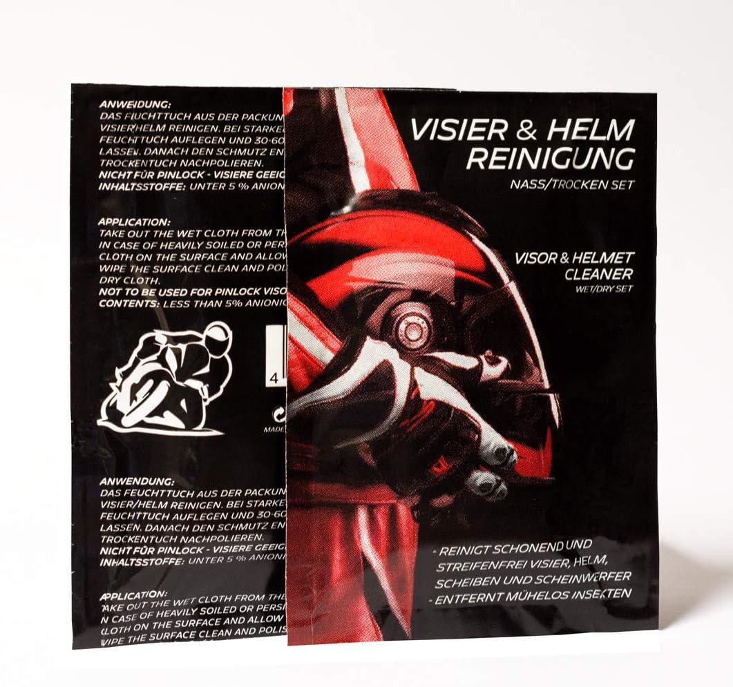 10 Stück Visierreinigungstuch Visier Und Helm Reiniger Visierreiniger Helmreiniger Reinigung Feucht Trocken Set 2 In1 Tuch Doppeltuch Motorrad Auto