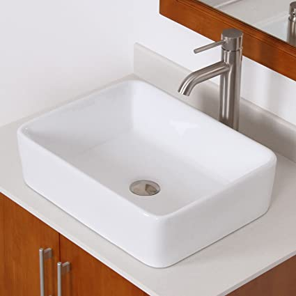ELITE Bathroom Rectangle White Ceramic Porcelain Vessel Sink U0026 Brushed  Nickel Single Lever Faucet Combo