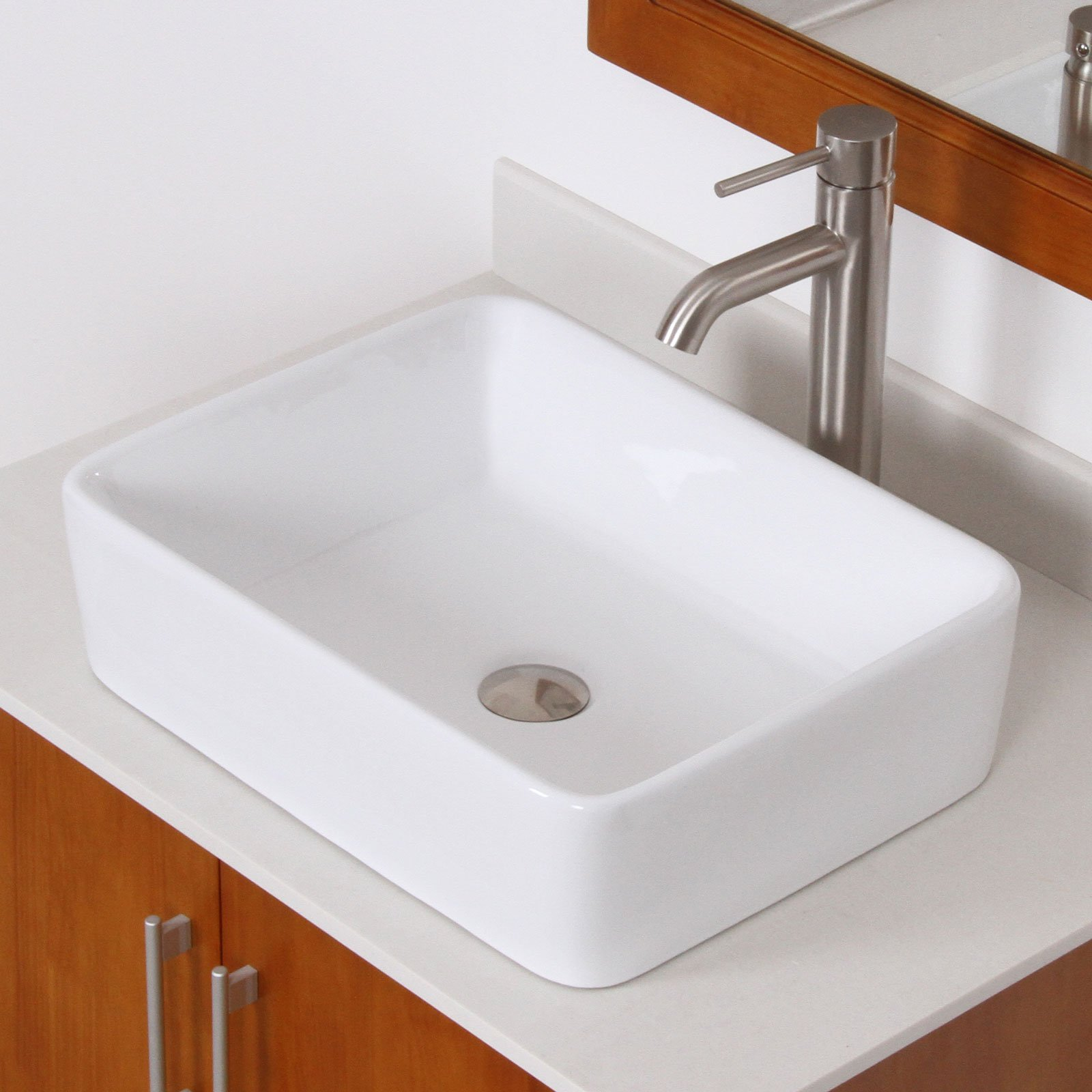 Elite Grade a Rectangular Shaped Basin Ceramic Vessel Sink and Tall Luxury Single Handle Lever Brushed Nickel Faucet Combo - 9924+f371023bn