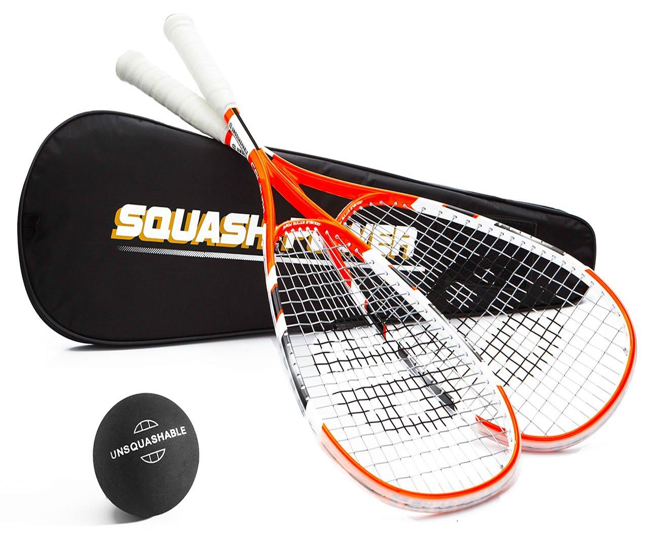 Unsquashable - Kit de squash (incluye 2 raquetas Calburn, 1 pelota ...