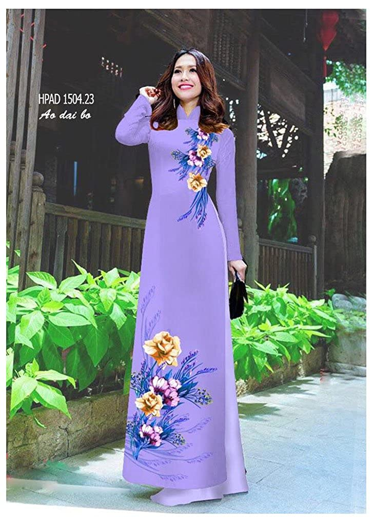 Ao Dai Traditional Vietnamese Long Dress Collections with Pants Silk 3D ADVN1502