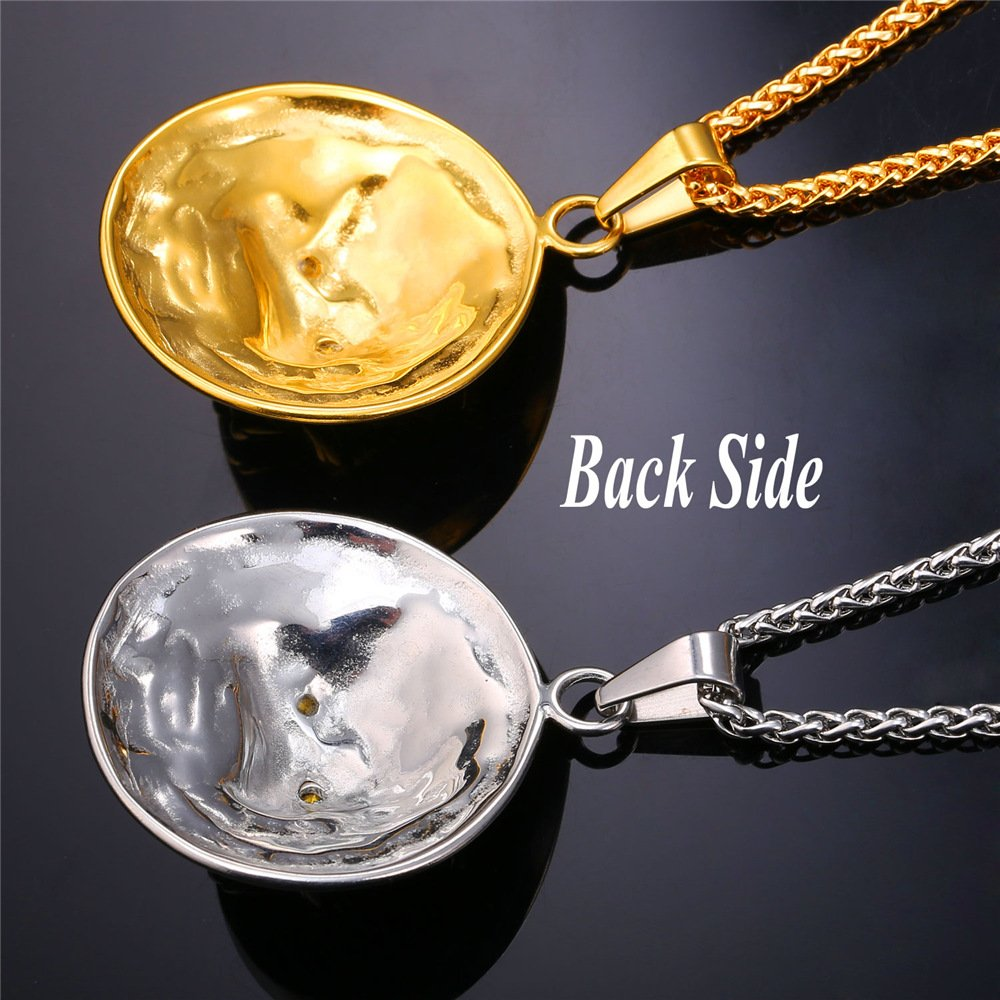 Davitu U7 Wolf Head Retro Punk Style Necklaces /& Pendants Men Jewelry Cool Gold Color Stainless Steel Statement Necklace P757 Metal Color: Stainless Steel