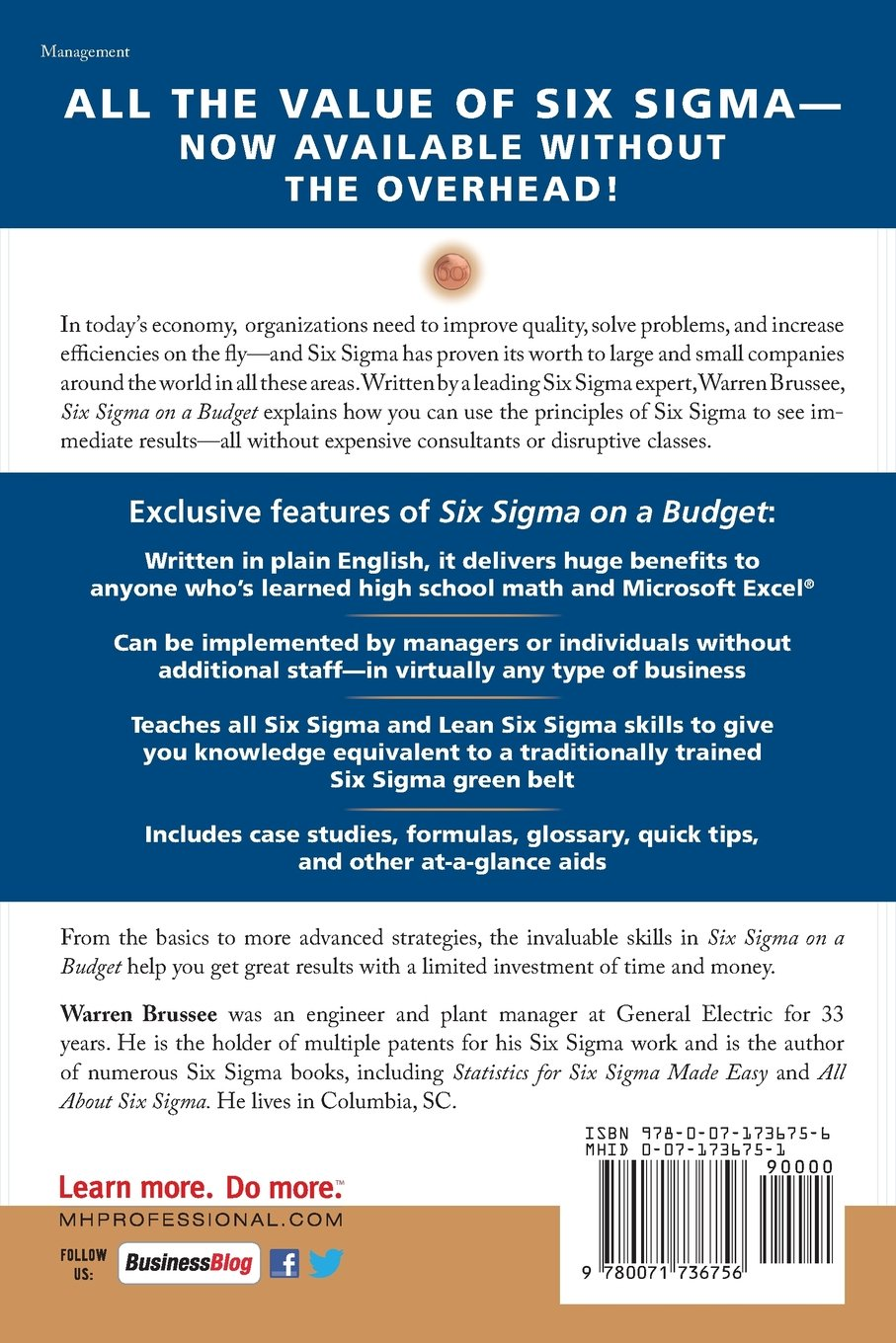 Amazon six sigma on a budget achieving more with less using amazon six sigma on a budget achieving more with less using the principles of six sigma 9780071736756 warren brussee books xflitez Gallery