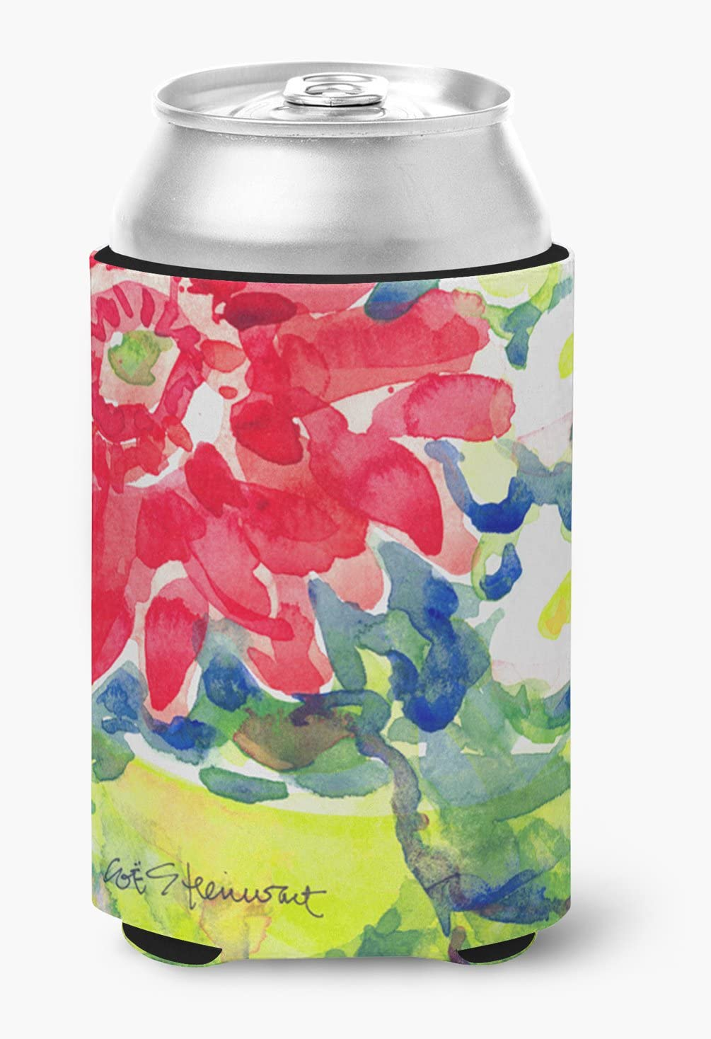Caroline's Treasures 6126CC Flower Can or Bottle Beverage Insulator Hugger, Can Hugger, multicolor