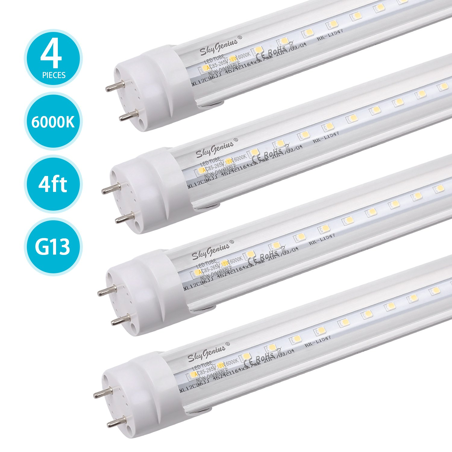 T8 LED Tube Light, Dual-End Powered 4ft LED Bulbs, 18W 2000Lm, 6000K Cold White, LED Fluorescent Tube Replacement for G13 Fixtures(4 Pack)