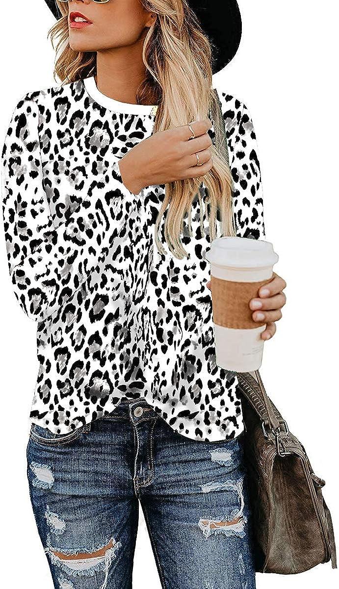 MOPOOGOSS Women Round Neck Long Sleeve Tie Dye Pullover Casual Sweatshirt Tunic Top