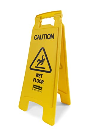 Rubbermaid Folding Safety Cone Multilingual Yellow Caution Wet Floor Sign