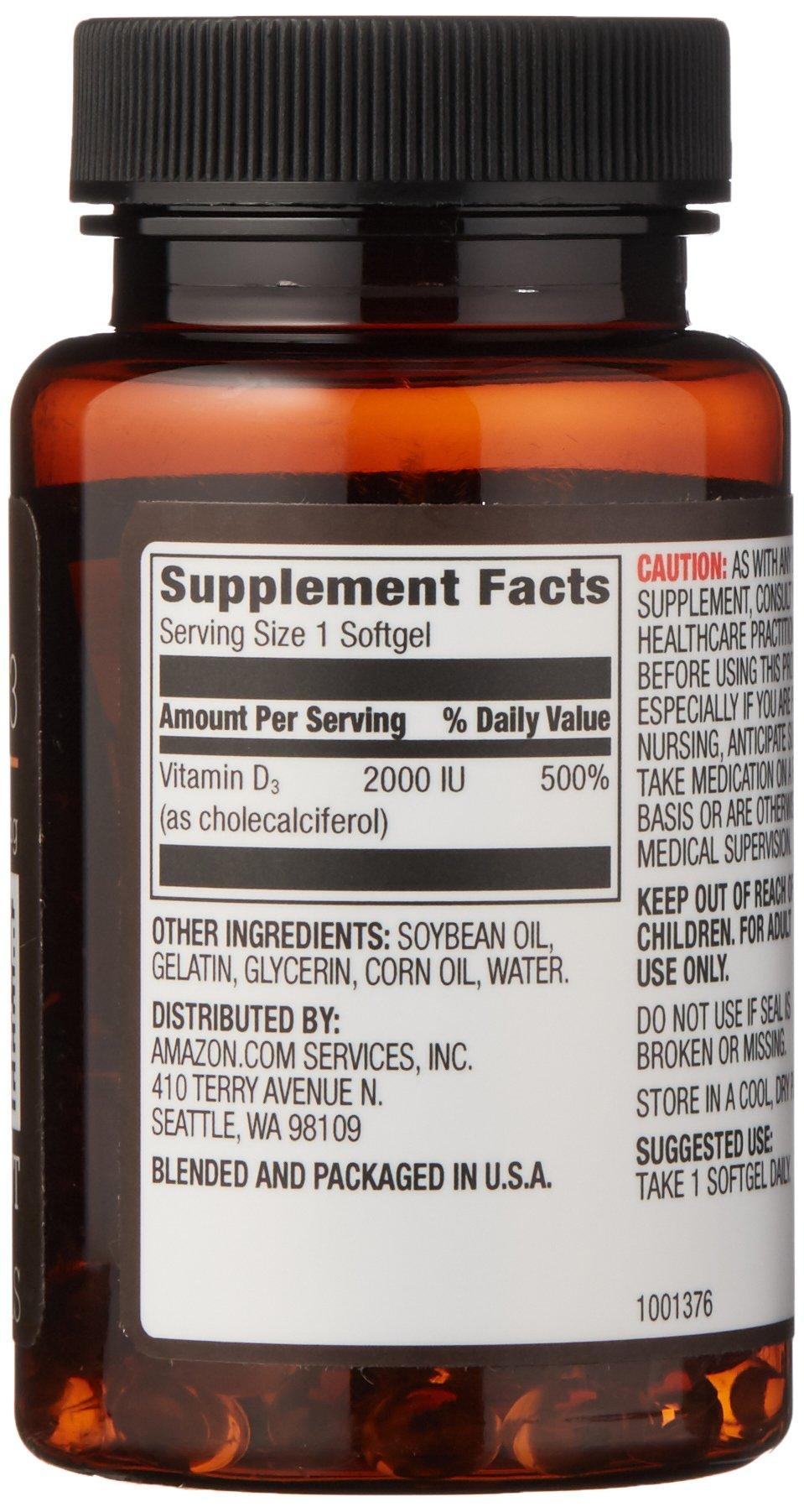 Amazon Elements Vitamin D3, 2000 IU, 180 Softgels, 6 month supply