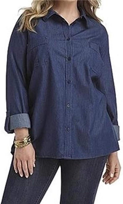 Amazon Com Laura Scott Women S Work Casual Day Night Cotton Denim Shirt Top Tunic Blouse Plus Size 1x Clothing