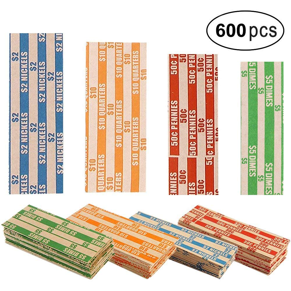 Coin Rolls Wrappers, 600 Assorted Flat Coin Wrappers - 150 of Each Quarters, Dimes, Nickels, Pennies, ABA Striped Kraft Paper Coin Roll Wrappers