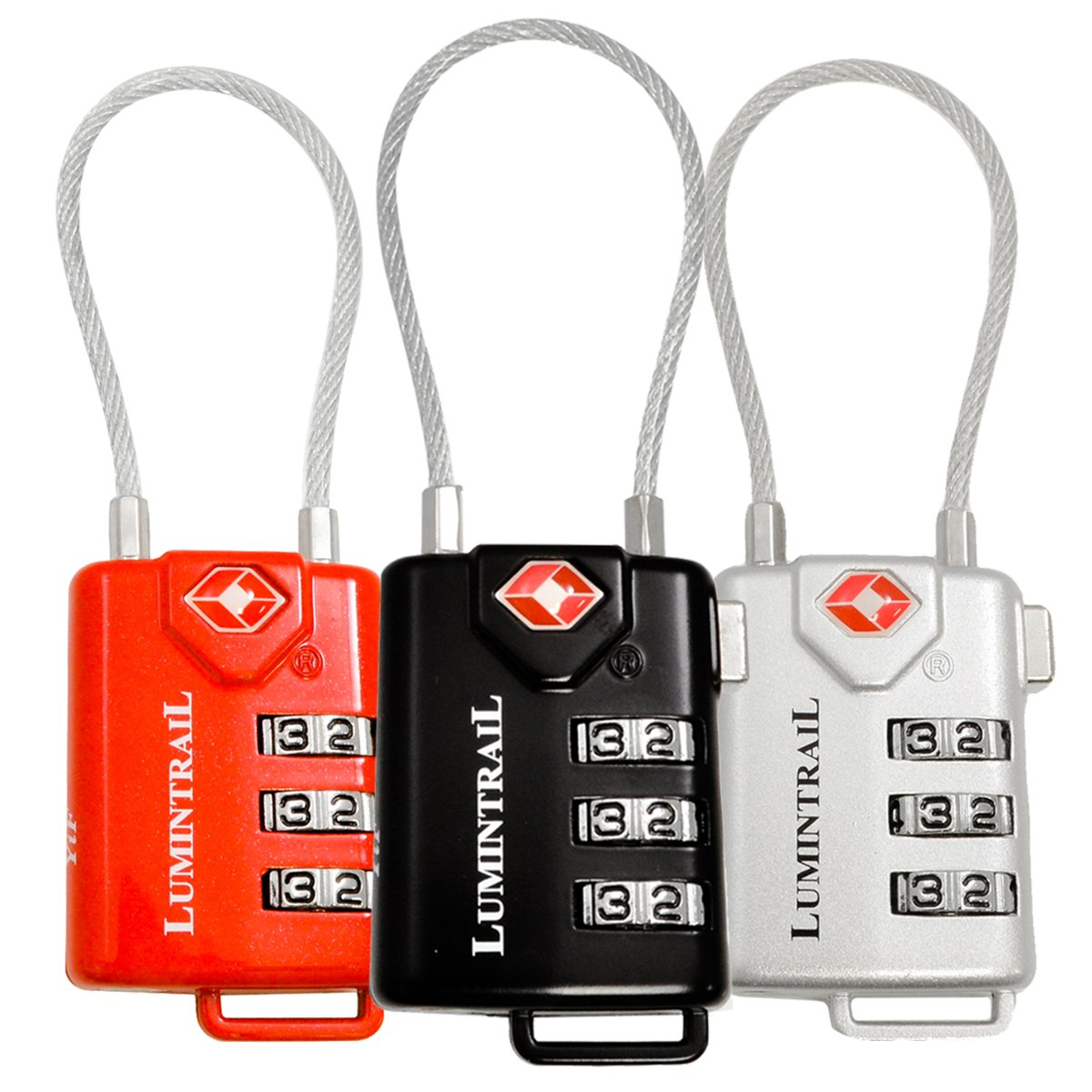 Lumintrail 3 Pack TSA Approved Cable Travel Locks Combination Luggage - (Multi)