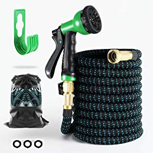 "Expandable Water Hose 100FT - Heavy Duty, Flexible Durable Water Hose, 8 Function Spray Nozzle, 3/4"" Solid Brass Connectors, Lightweight Expanding Water Hose, Hose for Yard"