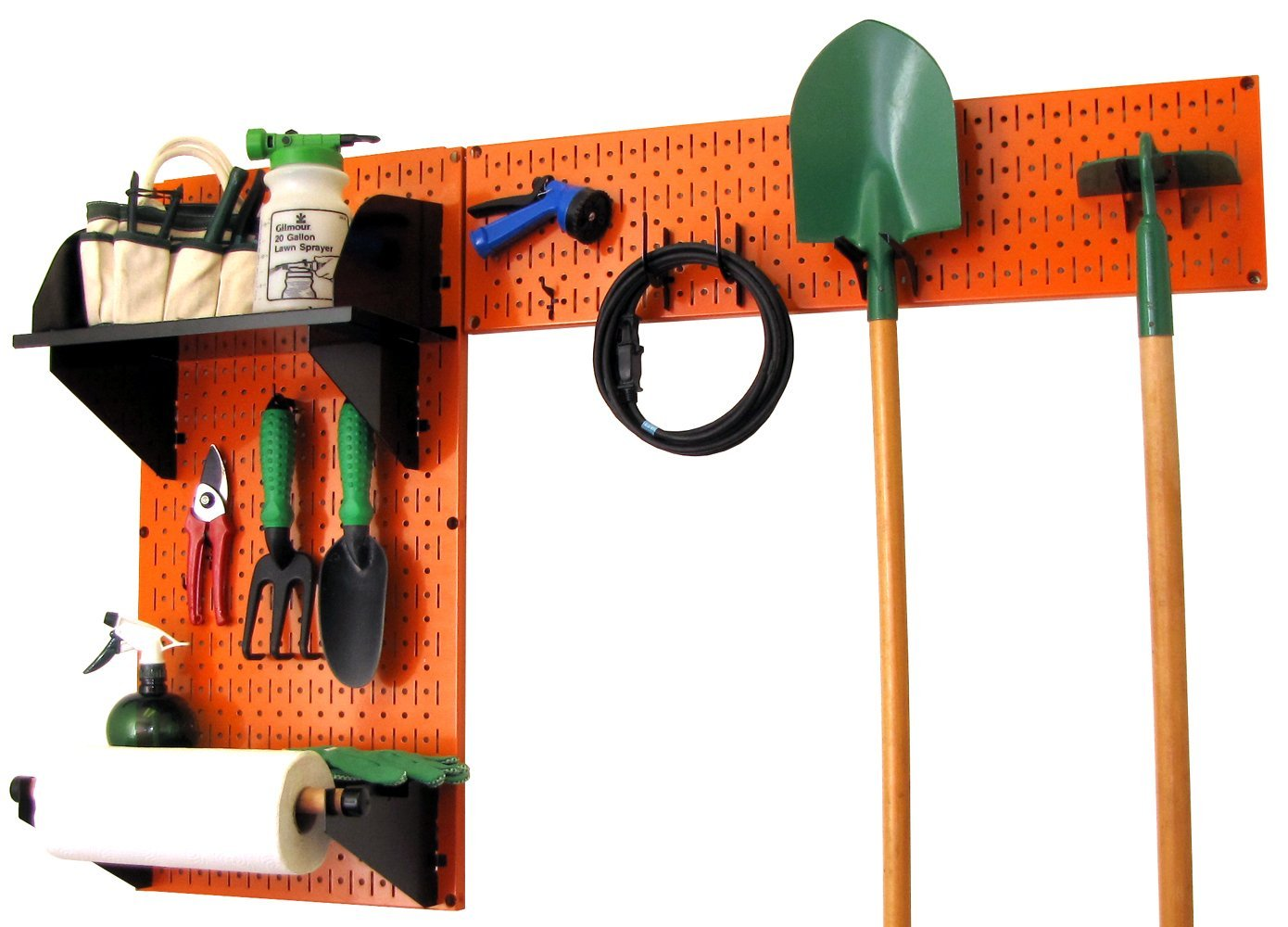 Wall Control 30-GRD-200 BB Pegboard Garden Supplies Storage and Organization Garden Tool Organizer Kit with Black Pegboard and Black Accessories