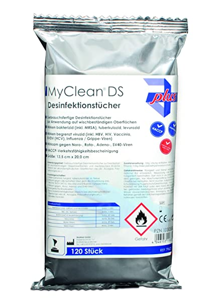 myclean® DS Toallitas desinfectantes (Neutral) 120 unidades con caja dispensadora