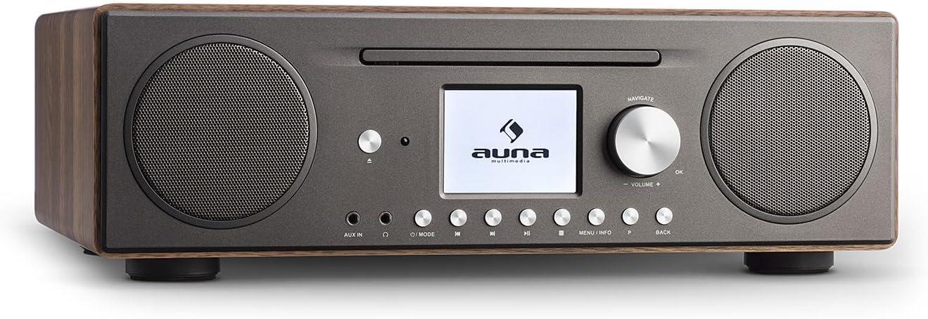 auna Connect CD Radio de Internet - Reproductor de CD-MP3 , Dispositivo Digital Dab/Dab+ , Interfaz WLAN , Spotify Connect , Bluetooth , Sintonizador de Radio FM con RDS , AUX , USB , Nogal