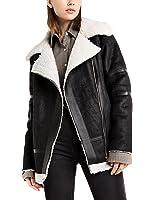Gameyly Women's Winter Fur Collar Faux Shearling Moto Jacket