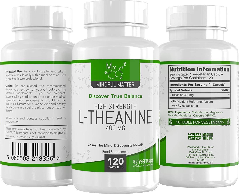 L-Teanina 400mg de Mindful Matter | Alta Potencia | CLARIDAD Y CONCENTRACIÓN | Promueve Relajación y Claridad Mental | 120 Cápsulas vegetarianas | Fabricado ...