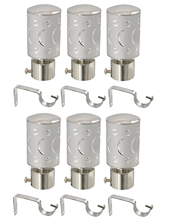 Prushti Fashion SET OF 6 SILVER CURTAIN BRACKET FOR DOOR&WINDOW Brackets at amazon