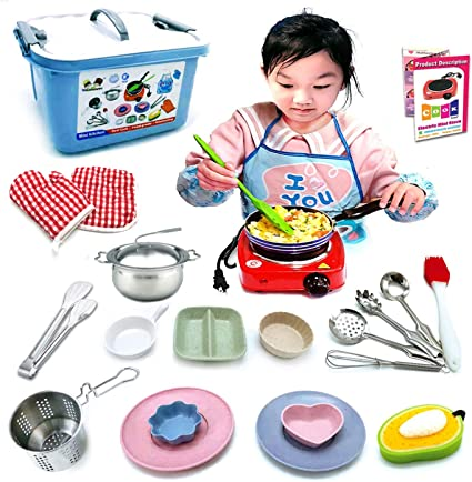 Amazon Com Kids Junior Tiny Real Easy Cooking Kitchen Set And Baking Kit 22 Pc Mini Stove Burner Chef Apron Oven Mitt Recipes Easy Cook Real Food Utensils Gift For Boys