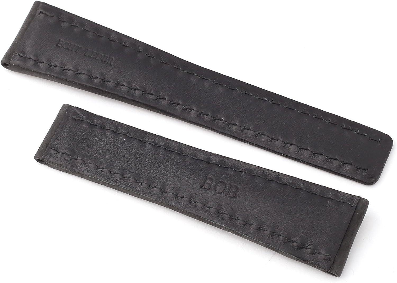 BOB KALBLEDERUHRENBAND kompatibel mit Breitling Faltschliesse SCHWARZ 24-20 mm