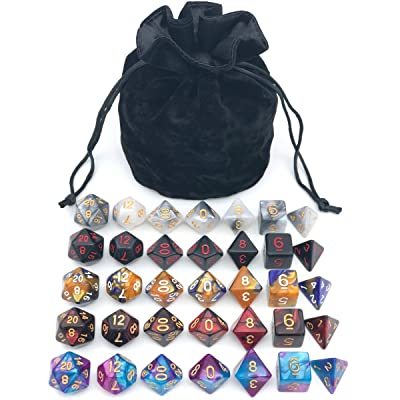 Assorted Polyhedral Dice Set with Black Drawstring Bag, 5 Complete Dice Sets of D4 D6 D8 D10 D% D12 D20 Great for Dungeons and Dragons DND RPG MTG Games: Toys & Games