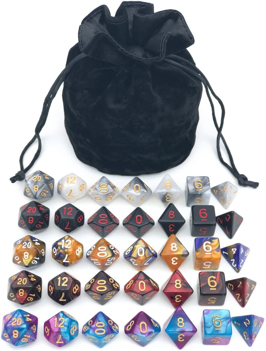Assorted Polyhedral Dice Set with Black Drawstring Bag, 5 Complete Dice Sets of D4 D6 D8 D10 D% D12 D20 Great for Dungeons and Dragons DND RPG MTG ...