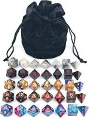 Assorted Polyhedral Dice Set with Black Drawstring Bag, 5 Complete Dice Sets of D4 D6 D8 D10 D% D12 D20 Great for Dungeons a