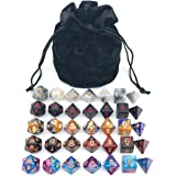 Assorted Polyhedral Dice Set with Black Drawstring Bag, 5 Complete Dice Sets of D4 D6 D8 D10 D% D12 D20 Great for…
