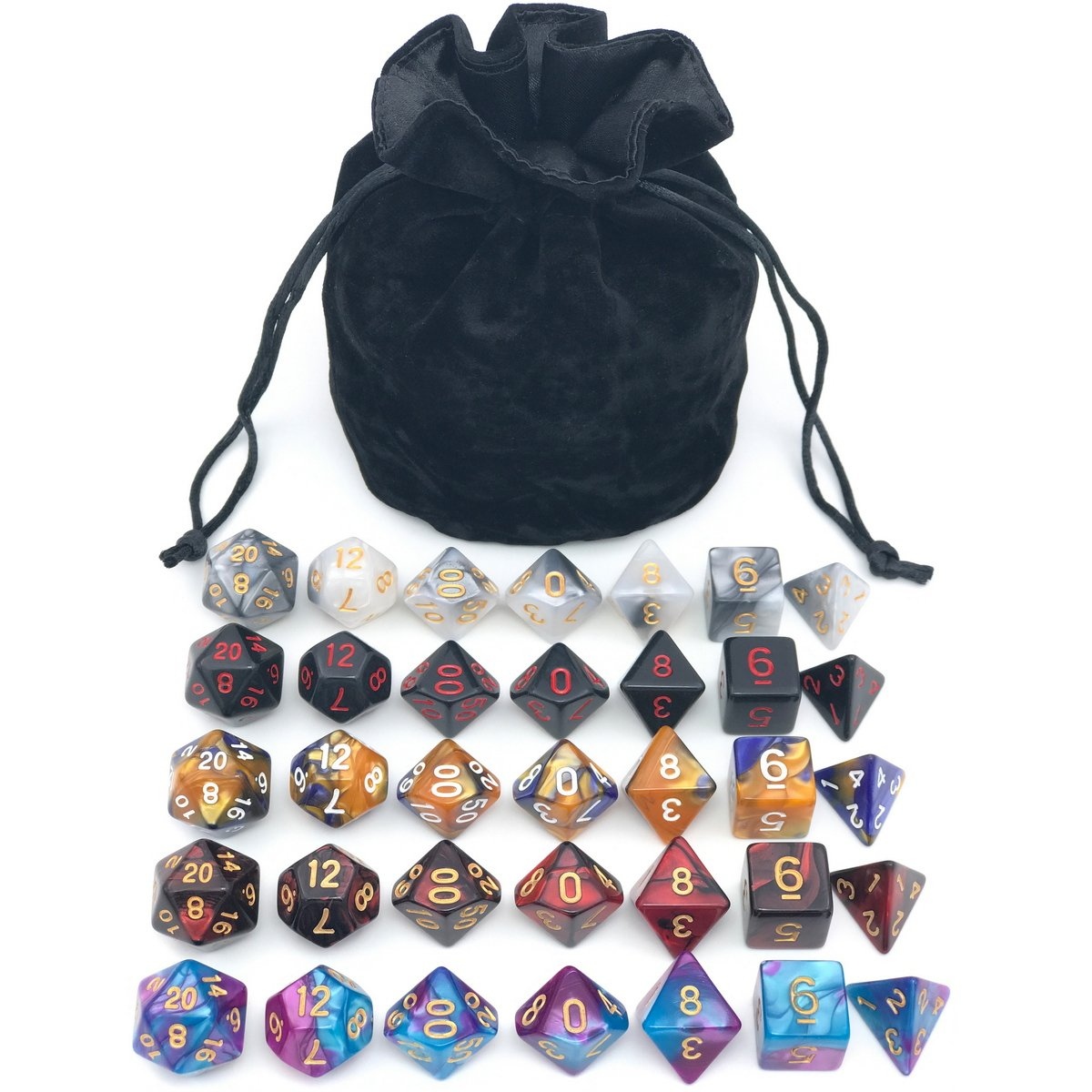 Assorted Polyhedral Dice Set with Black Drawstring Bag, 5 Complete Dice Sets of D4 D6 D8 D10 D% D12 D20 Great for Dungeons and Dragons DND RPG MTG Games by IvyFieldDice