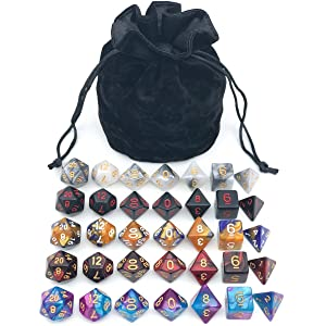 Assorted Polyhedral Dice Set with Black Drawstring Bag, 5 Complete Dice Sets of D4 D6 D8 D10 D% D12 D20 Great for Dungeons and Dragons DND RPG MTG Games