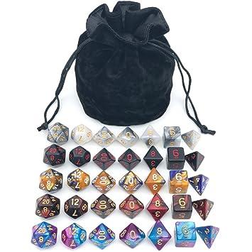 Amazon.com: Juego de dados de poliedra surtido con bolsa de ...