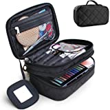 Travel Cosmetic Makeup Bag, MOTYYA Portable Double Layer Versatile Makeup Pouch Toiletry Organiser Nylon Tote Zipper Small Storage Case With Mirror for Women (Black)