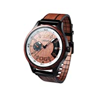 Men's wooden watch, Frohnau model, natural wood and leather strap, analogue quartz Miyota watch with calendar and dial, 3 ATM water resistance, easy to handmade, with gift box.