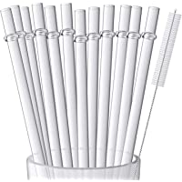 12 Pieces 9 Inches Clear Reusable Plastic Straws for Tall Cups, Tumblers and Mason Jars, BPA-Free Unbreakable Drinking…