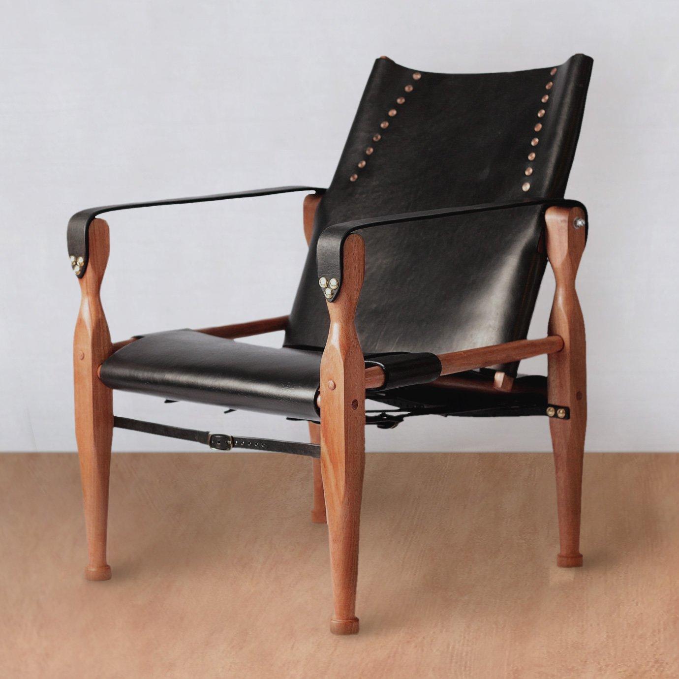 Bespoke Leather Campaign Safari Roorkhee Wood Chair