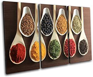 Bold Bloc Design - Spices Indian Food Kitchen 90x60cm Treble Canvas Art Print Box Framed Picture Wall Hanging - Hand Made in The UK - Framed and Ready to Hang