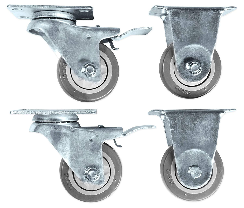 """Rockville WH4 3"""" Locking+Swivel Steel Caster Wheels 4 PA DJ Speakers, Subwoofers"""