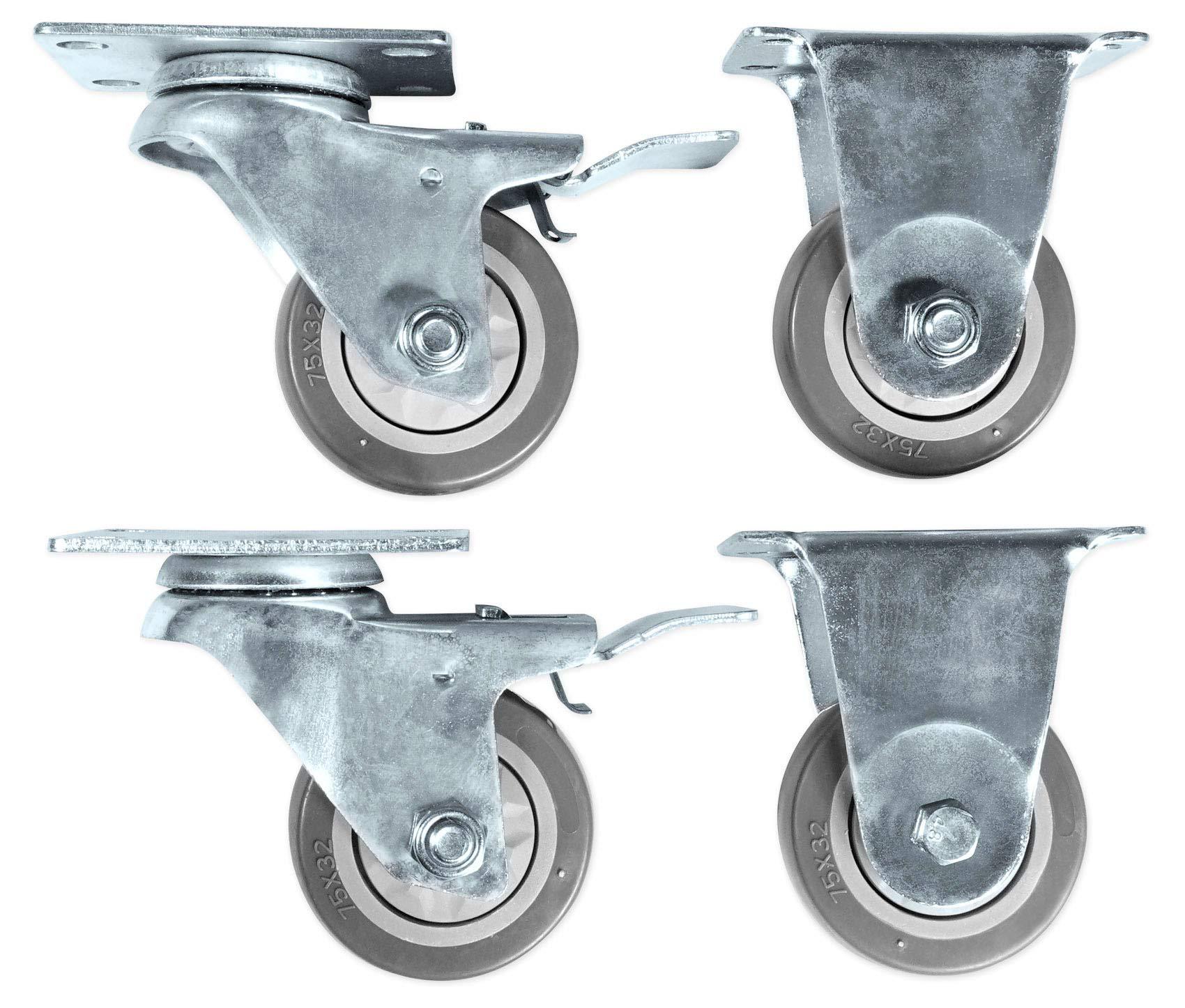 Rockville 3'' Locking+Swivel Steel Caster Wheels For Yamaha CXS18XLF Subwoofer