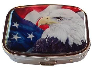 Amazon.com: Bandera americana águila calva Patriótica Plata ...
