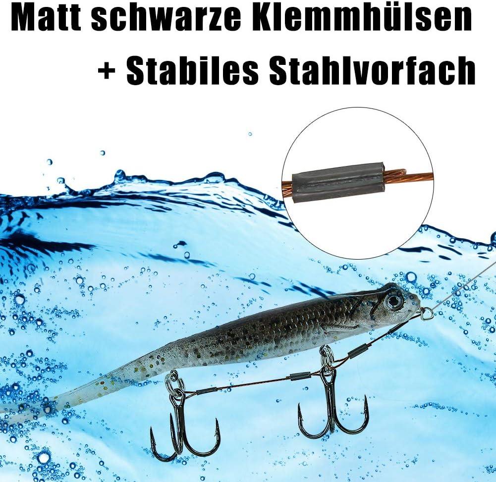Croch Sistema di Pesca in Gomma con Drilling e Testa a Vite Gancio per Esche in Gomma 2 x Shallow Rig per Esche da luccio