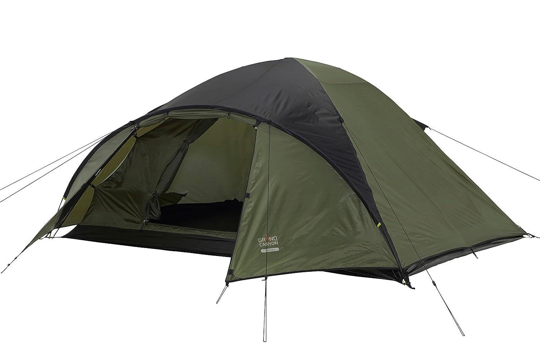 Grand Canyon Topeka 3 - großzügiges Kuppel-/ Igluzelt, 3 Personen, für Trekking, Camping, Outdoor, Festival, mit Vorbau für extra Stauraum, olive/schwarz, 602008