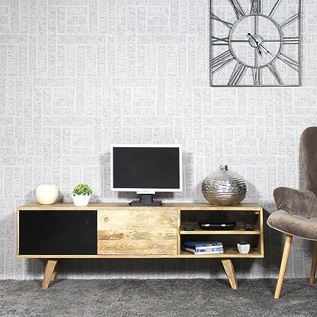 Mueble TV Madera Maciza Moderno | bt0196-n: Amazon.es: Hogar