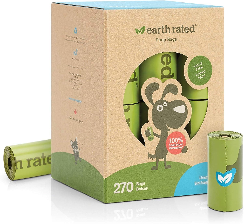Earth Rated - Pack de bolsas para recoger excrementos de perro, Sin Olor , 18 Rollos (270 unidades)