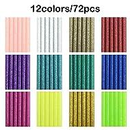 "72 Pieces Glitter Hot Glue Colored Gun Sticks, 12 Colors, AFUNTA EVA Glue Mini Size Hot Melt Adhesive Sticks for DIY Art Craft Repair Bonding - Diameter 7 mm/0.28"", Length 10 cm/3.9"""
