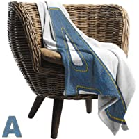 BelleAckerman Throw Blanket for Couch,Letter A,Blue Colored Uppercase A with Jeans Fabric Textile Theme and Stitches Image Print,Blue Yellow,Comfortable Soft Material |give You Great Sleep