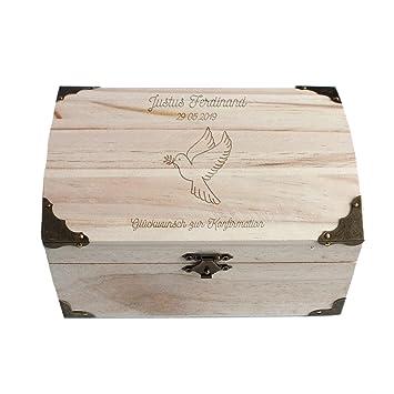 Geschenkede Personalisierbare Schatztruhe Zur Konfirmation Mit Tauben Konfirmation Geschenk Jungen Und Mädchen Verpackung Für Geldgeschenke Groß