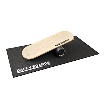 "'– Daffy Boards Balance Trainer Set ""Pure Branded : Balance Board 75 cm x 29,5 cm Bois de Bouleau, stable 125 mm Rouleau en plastique, Tapis de protection du sol"