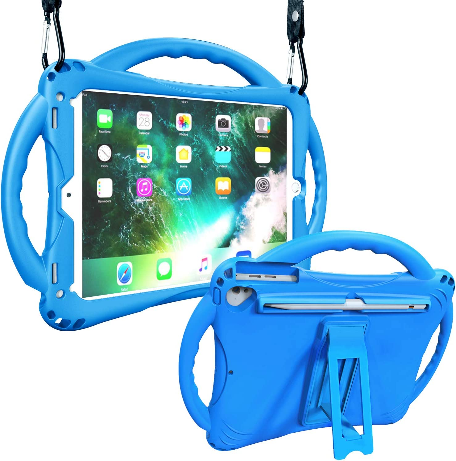 Adocham Kids Case for New iPad 9.7 Inch 5th/6th Gen 2018/2017, iPad Air/ Air 2 and iPad 9.7, Premium Food-Grade Silicone Lightweight Shockproof Handle Stand Kids Friendly Cover (Blue)