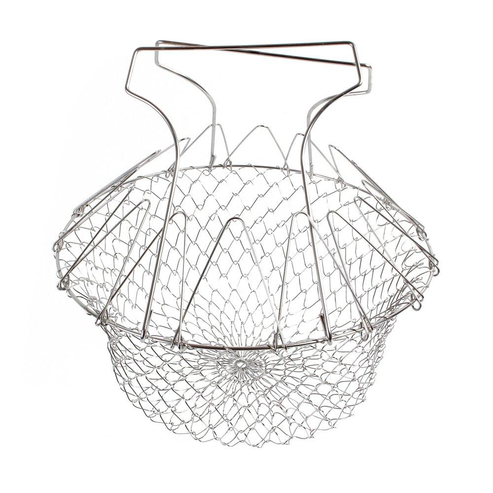 2017 Foldable Steam Rinse Deep Fry Chef Basket Magic Basket Mesh Basket Strainer Net Kitchen Cooking Tool Stainless Steel Colander (1) (1, Silver)