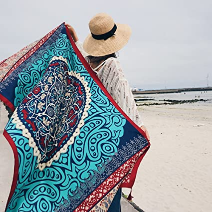 650719e0d5 Amazon.com: SUNBABY Women Boho Shawl Beach Towels Rectangle Polyester Scarf  Travel Sarong Wrap Swimwear Cover Up Beach Mats (Blue Totem): Home & Kitchen